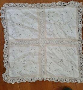 "Vintage White Cotton Pillow Sham Eyelet Lace Crochet Ribbon 24"" Square"