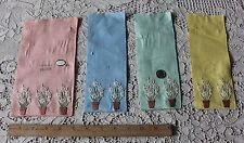 4 Small Original Vintage Samples Of Swiss Cotton On Linen Embroidery~Flowerpots