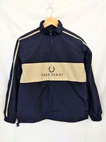 Fred Perry Vintage Big Logo Pullover Nylon Windbreaker Jacket Fleece Anorak