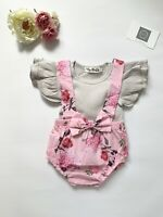 UK Newborn Baby Girl Clothes Ruffle Romper Tops Jumpsuit Shorts Pants Outfit Set