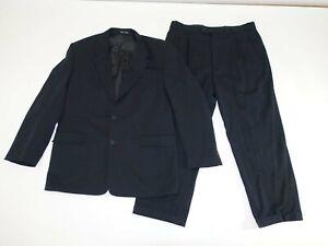 Moda Italia Men's 2 Button Suit Size 42 Long 36 x 28 Super 100s Black Pleated L