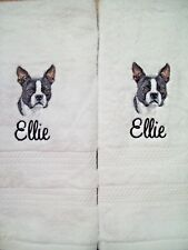 Boston Terrier Dog Gorgeous Bathroom Set HAND TOWELS EMBROIDERED Personalized