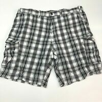 Foundry Cargo Shorts Mens 46 Black Gray White Cotton Plaid Regular Fit Zip Fly
