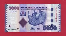 """5,000 5000 Shilingi 2015 TANZANIA UNC BANKNOTE (P-43b) - Printer: """"CC"""" (SWEDEN)"""