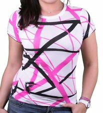 Famous Stars & Straps Womens White Pink Black EWS All Over T-shirt Small NWT