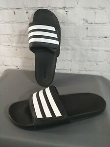 EUC men's ADIDAS / ADILETTE black 3 stripe rubber slides - size 11