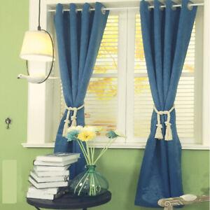 Blue Blackout Curtains Eyelet Ring Tops Plush Velvet Curtain Window Drapes Home