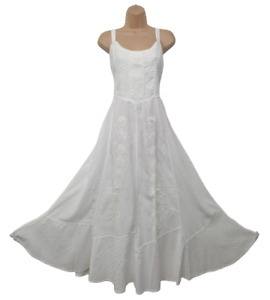 Maxi Summer Dress Cotton White Strap Sleeveless Embroidered Lined 14 16 18 20 22