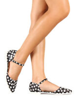 New Women Liliana Julique-1 Printed Leatherette Pointy Toe Mary Jane Flat