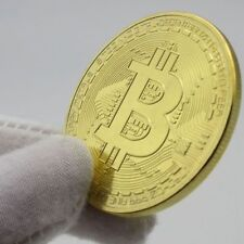1x Gold Bitcoin Commemorative Round Collectors Coin Bit Coin is Gold Plated Coin
