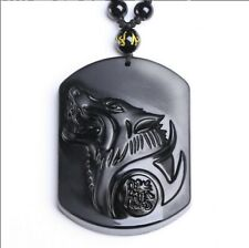 Hand Carved Wolf Head Black Stone Black Crystals Bead Chain Pendent Necklace N87