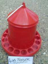 NEW!! 4kg RED POULTRY/CHICKEN FEEDER.CHICKENS/DUCKS/QUAIL ETC.