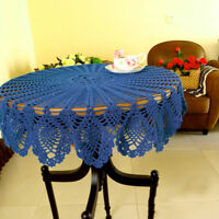 36'' Tablecloth Doily Table Cloth Handmade Crochet Blue Cotton Cover Mat Round