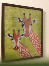 More details for original batik giraffe picture, signed, framed