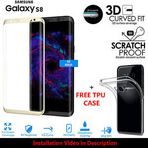 3D Curved Tempered Glass Screen Protector For Samsung Galaxy S8 GOLD + TPU Case