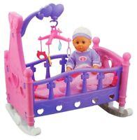 Puppenwiege mit Puppe Puppenzubehör Puppenbett Puppe Spielzeug Puppenmöbel NEU
