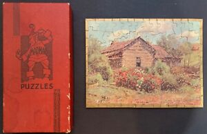"""Vintage MADMAR wood puzzle """"The Old Home""""  Complete 100 pieces."""