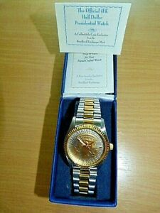 Official JF Kennedy Real Half Dollar Coin Presidential Watch new Boxed Gold pl