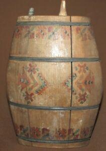 Antique folk hand painted wood keg flask