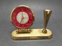 Vintage Phinney Walker Jeweled Brass Windup Clock Pen Holder Desk Set Germany