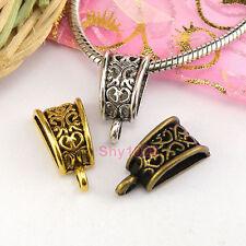 6Pcs Tibetan Silver,Gold,Bronze Bail Bead Fit Charm Bracelet 10x20mm M1689