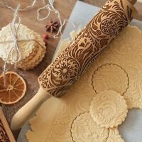 Wooden Flower Carving Rolling Pin Baking Cookies Biscuit Fondant Gingerbread