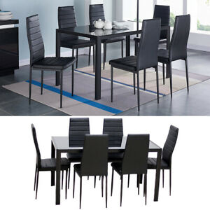 Black Tempered Glass Dinning Table Set 7Pcs 6Seater Apartment Table 6 Chairs Set