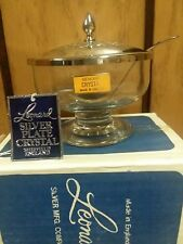 Leonard Silver Crystal Jar Footed Bowl Sheffield England Vintage w Tags and box