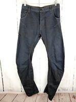 Men's WILLIAM RAST Twisted Arc Jeans 30x34 Dark Wash Denim Black Button Fly