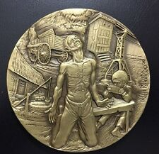 Tormented Male Farm Worker Suffering Artistic Big Bronze Medal by BERARDO! / M76