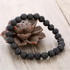 Lava Stone Elastic Unisex Fashion Jewelry Black Gift Beads Bracelet
