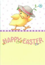Mary Engelbreit-Happy Easter Chick Hat Bonnet Flowers Greeting Card-New!