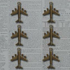 Package of 6 Maya Road Vintage Metal Charms-Let's Go Plane-Bronze