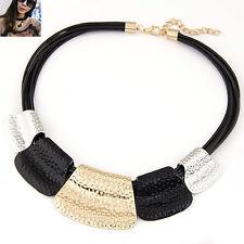 Chunky Big Choker Necklace Metal Collar Statement Black Gold Silver Bib Tribal
