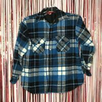 Vintage 70s Sears The Mens Store blue white plaid flannel button up jacket Large
