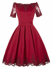 2017 Short Satin Formal Wedding Bridesmaid Gown Vintage Lace Prom Cocktail Dress