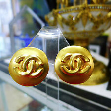 Authentic CHANEL Vintage CC Logos Gold Button Earrings Clip-On France