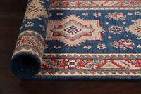 "Geometric Super Kazak NAVY BLUE 9 ft. Runner Rug Hand-knotted Wool 9' 4"" x 2' 8"""