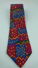 Vintage Abercrombie Fitch Geometric Tie 100% Silk USA W 4 L 55.5