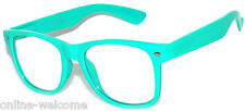 CLASSIC 80s VINTAGE RETRO CLEAR LENS SUNGLASSES SHADES TURQUOISE FRAME GLASSES