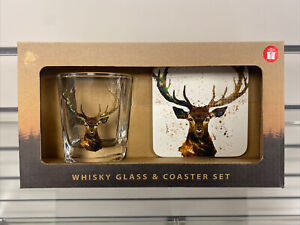 Stag Whisky Glass and Coaster Set - Gift Boxed