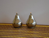Vintage Small Silver Tone Pear Salt and Pepper Shakers