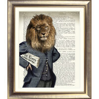 DICTIONARY WALL ART PRINT ON ORIGINAL ANTIQUE BOOK PAGE LION vintage Old Picture