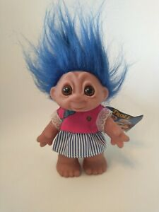 """Vintage Rare 1980s Troll Dam With Label 1980 Toy Retro Blue Hair 7"""""""