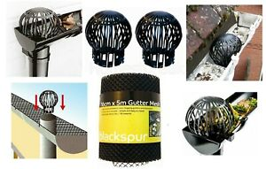 2 PC DOWNPIPE FILTER / 5M GUTTER MESH STOP LEAF RAIN ROOF DRAIN GUARD COVER