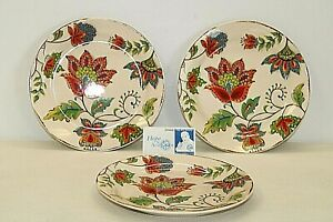 Set of 3 Ironstone Pier1 Imports Decorative Plates Multi-Color Floral