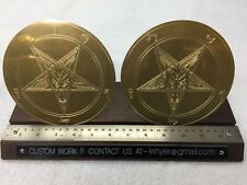"PAIR OF 6"" BAPHOMET BRASS MEDALLION GOAT HEAD INVERTED PENTAGRAM"