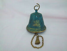 Vintage BRASS BELL Finished in Green and Gold Paint Designed Building Imprint