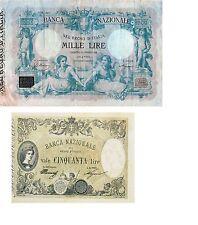 Italia 2 Banconote: 50,1000 lire 1878 BANCA NAZIONALE NEL REGNO (Riproduz/copy)