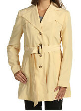 New $189 Jones New York Light Yellow Lined Belted Trench Coat Jacket L 12-14